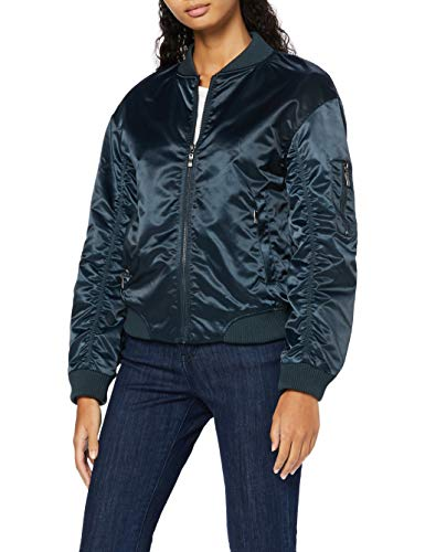 Amazon Brand - find. Women's Bomber Jacket Satin Long Sleeves Crew Neck, Blue (Teal), 14, Label:L