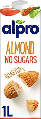 Alpro Almond No Sugars Long Life Drink 1L| 100% Plant-Based| Vegan| Unsweetened & Dairy Free | Pack of 8