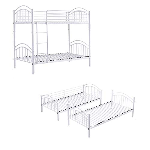 BOJU Single White Bunk Bed Cot Frame with Ladder 3FT Detachable Metal Day Bed Bedstead for Twin Bedroom Single Bed Frame for Kids Teens Adult Dormitory