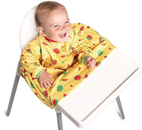 BiBADO Baby & Toddler Weaning Bib Coverall Attaches to Highchair & Table One Size Fits All (Yellow Watermelon)