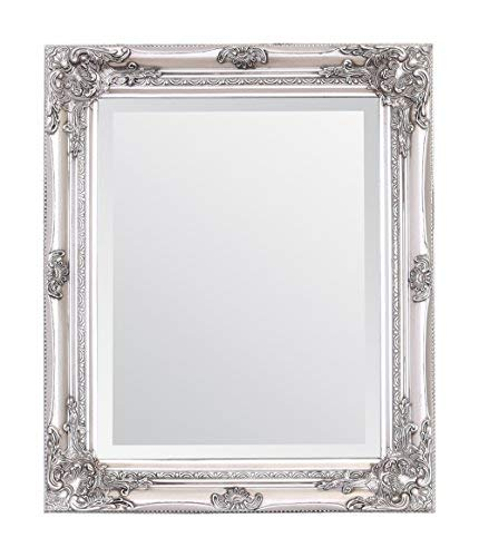 Select Mirrors Rhone Wall Mirror – French Vintage, Antique Baroque Style - 50cm x 60cm (Antique Silver)