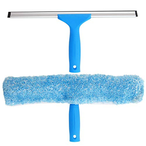 MR.SIGA Professional Window Cleaning Combo - Squeegee & Microfiber Window Scrubber, 14