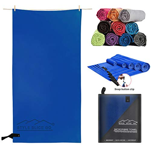 Style Slice Go Microfiber Towel Quick-dry Lightweight Super Absorbent Travel Towel for Sports Beach Gym Camping Hiking Drying Pets Small Medium Large and X-Large (Dark Blue, Small 100cm x 50cm)