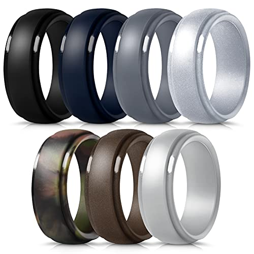 Mokani Silicone Ring for Men, 7-Pack Step Edge Sleek Design Rubber Wedding Bands, Comfortable Fit Skin Safe Durable Affordable, Size 10