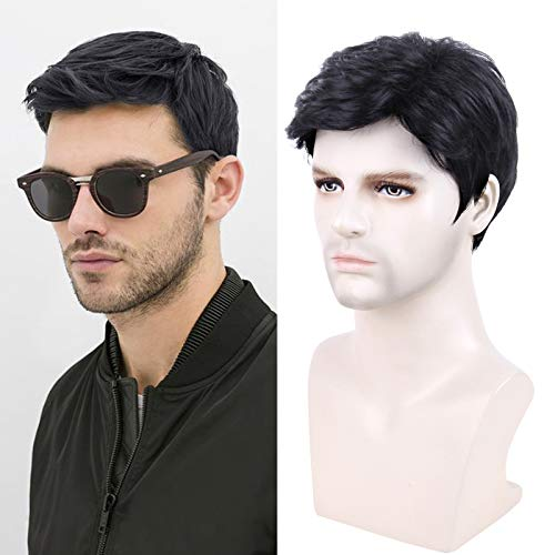 Creamily Short Male Black Wig Handsome Men's Daily Costume Synthetic Full Wigs Natural Black Hair Replacement Wig