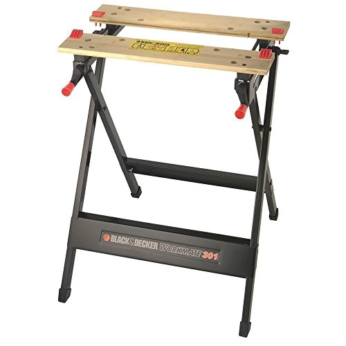 BLACK+DECKER Workmate, Work Bench Tool Stand Saw Horse Dual Clamping Crank, Heavy Duty Steel Frame, WM301