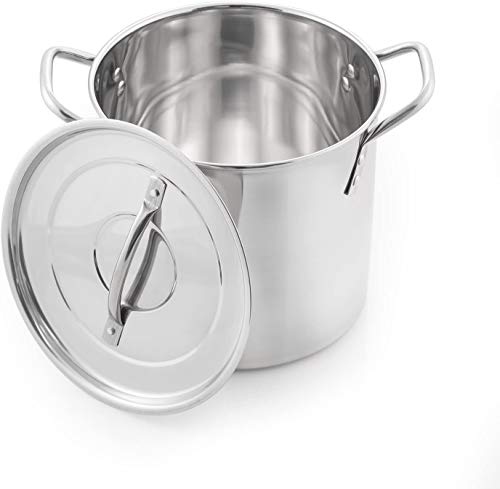 Winsome Stainless Steel Stock Pot with Lid - Bottom Deep Stew Sauce Soup Pasta Cooking Pot Home Brew Boiling Pot Set (Small 7 LTR)