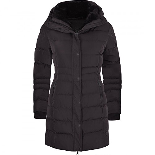 Women's Designer Winter Lined Parka Quilted Coat Fur Collar Hooded Long Ladies Womens Jacket UK 16 / X Large Solid Black
