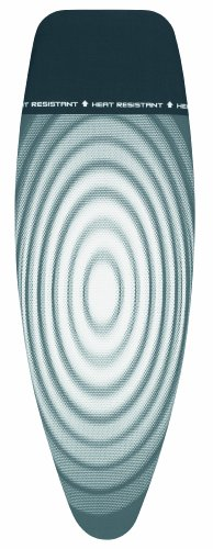 Brabantia Size D (135 x 45cm) Replacement Ironing Board Cover with Heat Resistant Parking Zone & Durable 2mm Foam Layer (Titan Oval) Easy-Fit, 100% Cotton