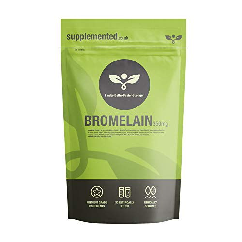 Bromelain 350mg Supplement 180 Capsules High Strength Digestive Enzyme Pineapple Extract UK Made. Pharmaceutical Grade