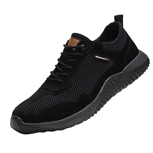 Steel Toe Cap Safety Shoes Work Boots Work Footwear for Women and Men Unisex Lightweight & Non-Slip Industrial Composite Shoes 116 Black 9.5 UK 44 EU 270