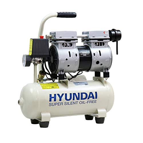 Hyundai Low Noise Electric Air Compressor, 550W Air Compressor, 4CFM, 100PSI Oil Free Air Compressor, 8 Litre Tank Capacity, 2 Year Warranty, Quick Release Fittings UK 13 Amp Plug, White