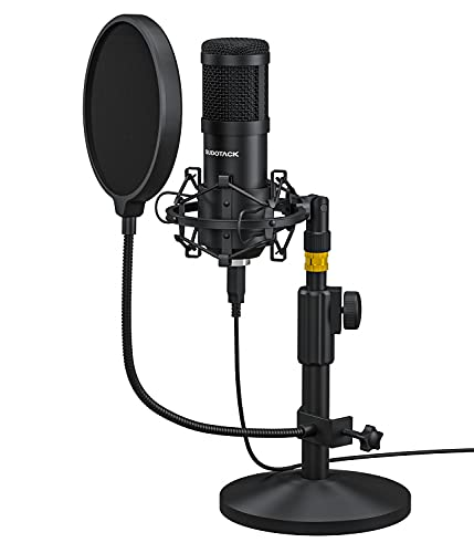 USB Podcast PC Microphone, SUDOTACK Professional 192KHZ/24Bit Studio Cardioid Condenser Mic Kit with Desktop Stand Shock Mount Pop Filter, for Skype, Zoom, Youtube, Gaming, Recording (ST810)