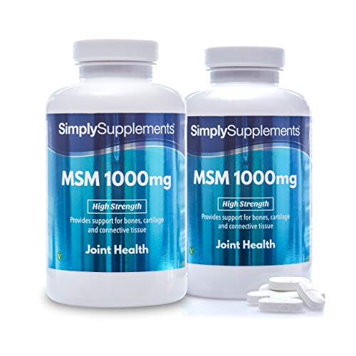 MSM Tablets 1000mg   Super High Strength Formula   360 Tablets = 6 Month Supply   Wheat-Free, Fish-Free   Suitable for Vegetarians