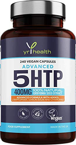 5HTP 400mg Griffonia Seed Extract - 240 Vegan Capsules with Added L-Tryptophan, Lemon Balm and Chamomile - 8 Months Supply of High Strength 5-HTP Complex - Made in The UK by YrHealth