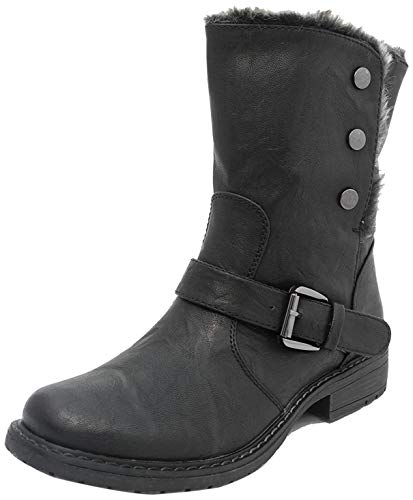 Womens Fold Down Leather Look Fur Lined Biker Ankle Boots BLACK SIZE 6