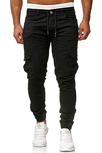Men's Pants Jogging Chino Cargo Pants Stretch Sports Pants with Pockets Slim Fit Casual Pants (L, Black)