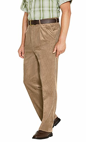 Mens Luxury Cotton HIGH-Rise Corduroy Adjustable Pleated Trouser Pants Fawn 34W / 31L