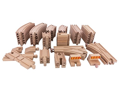 Catschat 64 Pieces Wooden Toy Train Tracks Expansion Pack-Compatible with All Major Train Brands including Thomas Brio Wooden Railway System