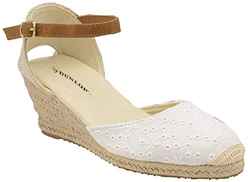 Dunlop Ladies Womens Espadrille Wedge Sandals Ankle Strap Summer Shoes Size 3-8 White