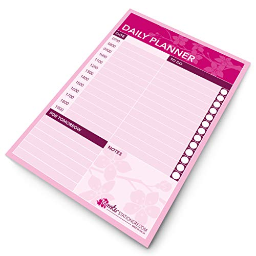 Monster Stationery - Cherry Blossom - Daily Planner/Appointment Scheduler/to Do List - A5-60 Sheets - 80gsm - Made in UK   pink
