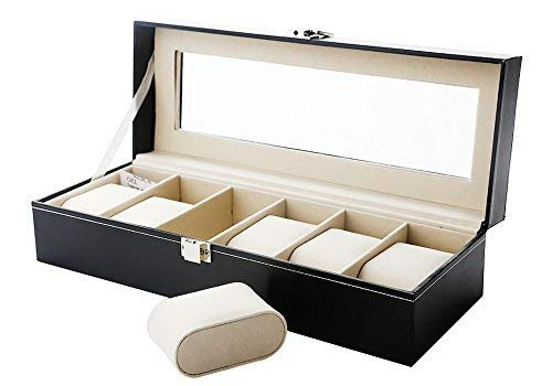 Zogin 6 Grid Watch Jewelry Display Storage Box Case Bracelet Organisers Display Boxes with Pillows Holders