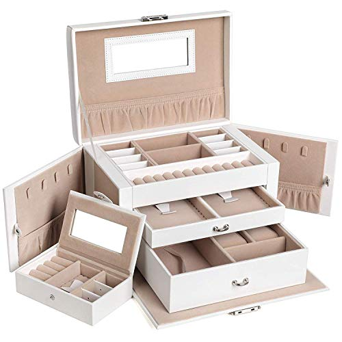 SONGMICS Jewellery Box, Jewellery Organiser with 2 Drawers, Lockable Jewellery Case with Mirror, Portable Travel Case, for Rings, Bracelets, Earrings, Necklaces, Velvet Lining, Gift, White JBC121W