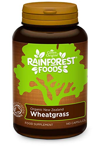Rainforest Foods Organic New Zealand Wheatgrass Capsules 500mg Pack of 140, Pouch