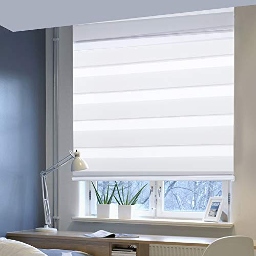 Laneetal Double Roller Blind Day and Night Roller Blind Curtain for Window and Door with Fittings Easy Fit 120 x 150 cm White