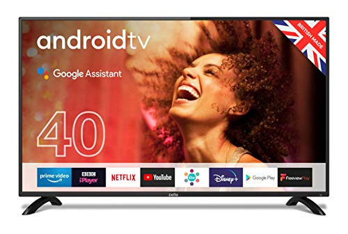 """Cello ZG0204 40"""" Smart Android TV with Freeview Play, Google Assistant, Google Chromecast, 3 x HDMI and 2 x USB Full HD 1080p Made in the UK Black"""