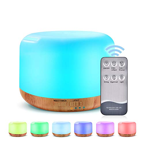 300ml Essential Oil Diffuser,Ultrasonic Humidifier Aromatherapy Diffuser with 7 Colors LED Aromatherapy Lights for Home, Yoga, Office, SPA, Bedroom