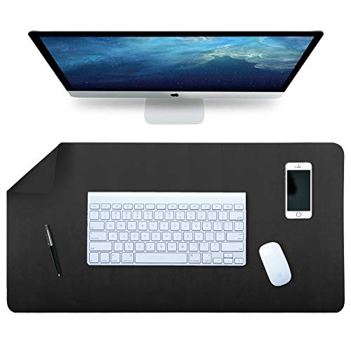 SIHOHAN Desk Pad, Office Desk Mat, 80cm x 40cm PU Leather Desk Blotter, Multifunctional Dual-Sided Ultra Soft Waterproof Mouse Pad Writing Mat for Home (Black+Black)