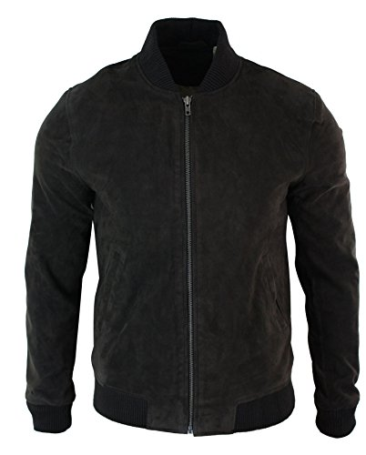 Infinity Mens Real Suede Leather Varsity Bomber College Jacket Classic Retro Vintage Camel Black Wine