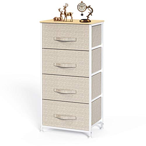 Pipishell Chest of Drawers, Fabric Storage Drawers easy to Install, Dresser with Wood Top and Large Storage Space, Vertical Chest of 4 Drawers Bedroom, Living Room, Nursery Room, Hallway, etc