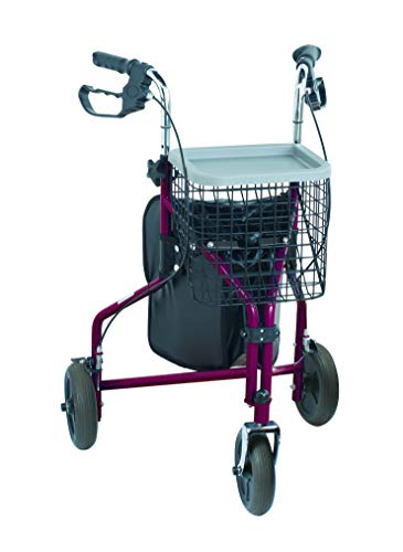 NRS Healthcare M91139 Three-Wheel Rollator Walking Aid  with Basket & Tray, Red (Eligible for VAT relief in the UK)