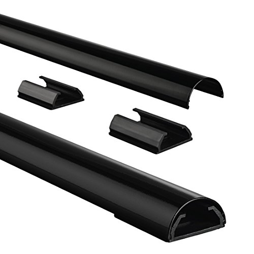 Hama 83170 cable channel aluminum (aluminum strip for TV wall mount, cable cover half round, 110 x 3.3 x 1.8 cm, cable entry for up to 5 cables, including mounting material) black
