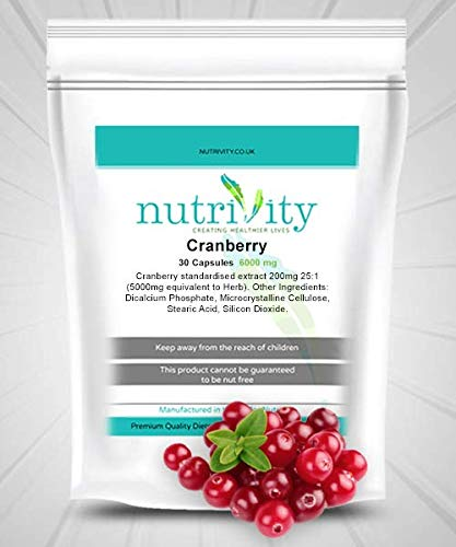Cranberry 6000mg Capsules for Urinary Tract Health Nutrivity UK Manufactured (30)