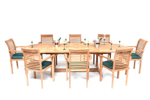 Humber Imports The Deauville Giant Top Grade SVLK Compliant Grand 10 Foot Teak Double Extension Outdoor Patio Dining Set New Model Extension Table 8 Stacking Chairs & Cushions