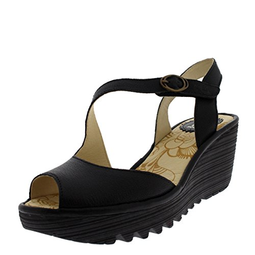 Fly London Womens Yamp Leather Peep Toe Wedge Heel Summer Cut Out Sandals - Mousse Black - 6