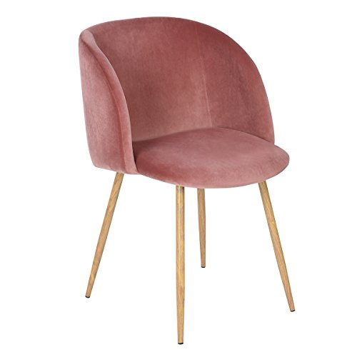 EGGREE Dining Chairs Vintage Velvet Armchairs Accent Chairs for Living Room Bedroom Kitchen, with Metal Chair Legs, Rose