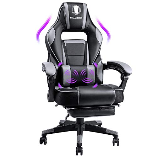 KILLABEE Massage Gaming Chair High Back PU Leather PC Racing Computer Desk Office Swivel Recliner with Retractable Footrest and Adjustable Lumbar Support (Grey)