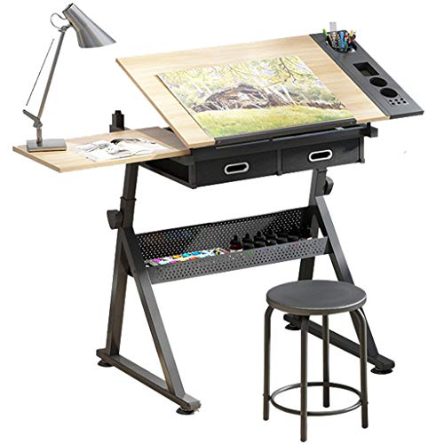 Dripex Adjustable Drawing Table Painting Desk with Tiltable Tabletop Architecture Design Work Station, Study, Drafting, Home Office Computer Desk (Including Stool)