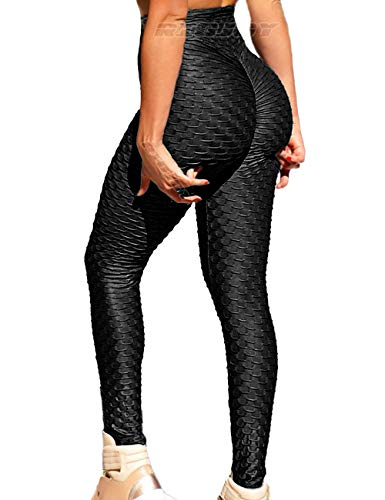 RIOJOY Women's Ruched Butt Fitness Leggings High Waist Stretchy Honeycomb Texture Running Tights, M, Black