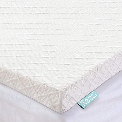 Recci Memory Foam Mattress Topper Small Double - Pressure Relief for Back Pain with Removable & Washable Bamboo Viscose Zipped Cover, CertiPUR-EU (Small Double Size - 120x190x5cm)