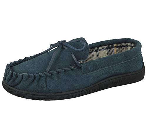 Cushion Walk Mens Real Suede Leather Moccasin Slippers, (UK 9, Navy)