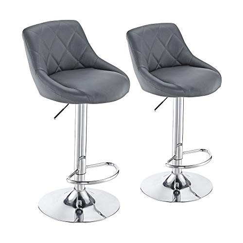 Panana Modern Bar Stools Set, Bar Chairs Breakfast Dining Stools for Kitchen Island Counter, Leatherette Exterior, Adjustable Swivel Gas Lift, Chrome Footrest and Base (Grey)