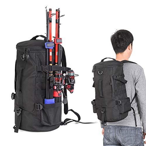 Fishing Seat Box & Rucksack, Cylindrical Fishing Tackle Backpack Large Capacity Polyester Fishing Bags Backpack with Rod Holder Fishing Gear Bag