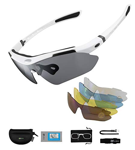 ROCKBROS Polarized Cycling Sunglasses for Men Women Sports Sunglasses UV Protection Cycling Glasses with 5 Interchangeable Lenses Bike Goggles TR90 Unbreakable Frame