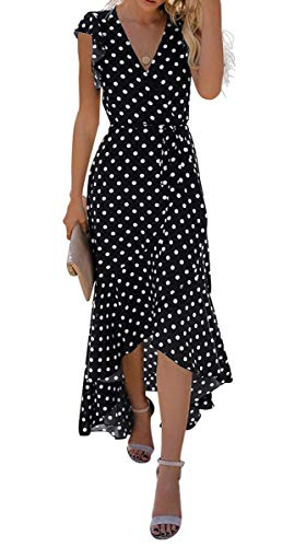 GRECERELLE Womens Summer Maxi Dress Boho Floral Cocktail Midi Polka Dot Wrap Dresses V Neck Casual Party Bohemian Flowy Long Dress for Ladies