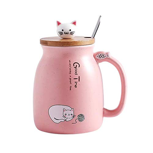 Cat Mug Cute Ceramic Coffee Cup with Lovely Kitty lid Stainless Steel Spoon,Novelty Morning Cup Tea Milk Christmas Mug Gift 380ML (Pink)